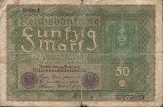 Originaler Geldschein von 1919 - Geldschein, Banknote, Reichsbanknote, Zahlungsmittel, Papiergeld, Geld, Mark, Reichsmark, fünfzig, Weimarer Republik, Original, Erbstück, 1919