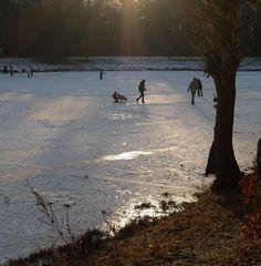 Abendstimmung auf dem Eis - Winter, Wintervergügen, Frost, Eis, Schnee, Jahreszeit, bewegen, kalt, frieren, gefrieren, gefroren, zugefroren, Schlittschuhlaufen, Eislaufen, Eisfläche, Dichte, Physik, Aggregatzustand