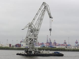 Schwimmkran - Schwimmkran, Kran, Hamburg, Hafen, Elbe, heben, Container, Flaschenzug, Kraft, Rolle, Physik