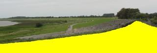 Deichquerschnitt - Deich, Deichaufbau, Querschnitt, Deichquerschnitt, Böschung, Seeseite, Deichkrone, Gras, Sand, Steine, Küstenschutz, Hochwasserschutz