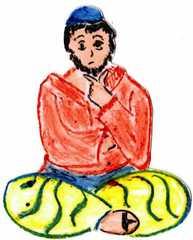 Jünger an Pfingsten #6a - Pfingsten, Jünger, fröhlich, traurig, Schneidersitz, sitzend, nachdenklich, nachdenken, überlegen