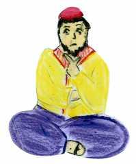 Jünger an Pfingsten #7a - Pfingsten, Jünger, ängstlich, besorgt, nachdenklich, traurig, Schneidersitz, sitzend