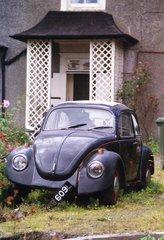 VW Käfer im Vorgarten - Auto, VW Käfer, Schrott, im Abseits, alt, Wrack, Alteisen, Oldtimer, Schreibanlass