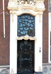 Haustür in Südholland #7 - Tür, Haustür, Eingang, Oberlicht, Südholland, Ornament, Schmuck, Stuck, Stukkatur, Hochglanz, glänzend, blank, vornehm, edel