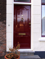Haustür in Südholland #8 - Tür, Haustür, Eingang, Oberlicht, Südholland, Ornament, Schmuck, Stuck, Stukkatur, Hochglanz, glänzend, blank, vornehm, edel