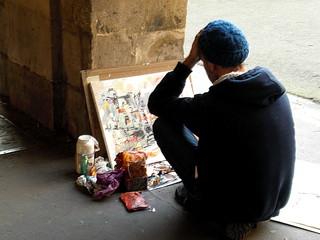 Straßenmaler in Paris - Paris, Straße, Maler, Farbe, malen, Straßenmalerei, Straßenkunst, Kunsthandwerk, Aktionskünstler, peintre