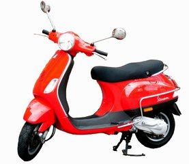 Motorroller Vespa ohne Hintergrund - Hubraum, PS, Roller, Motorroller, Vespa, fahren, Verkehr, Verkehrsmittel, Fortbewegung, rot, Rad, Räder, Zweirad, bewegen, motorisiert, Karosserie, Schaltgetriebe, rollen