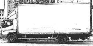 LKW sw - LKW, Lastkraftwagen, Kraftwagen, Lastwagen, Laster, Kraftfahrzeug, Nutzfahrzeug, Fahrzeug, rollen, motorisiert, Transport, Güterbeförderung, Verkehrsmittel, weiß, Quader, ladevolumen, Volumen
