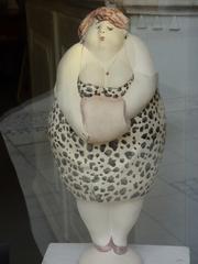Skulptur#2 - Dame, Frau, stehend, schulterfrei, Skulptur, Plastik, Bildhauerei, Karl Heinz Richter