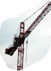 Teil eines Baukrans - Kran, Ausleger, bauen, heben, Hebezeug, Last, Lasten, Turmdrehkran, drehen, Traglasten, Standfestigkeit, Hebel, Flaschenzug, Rolle, Hebelgesetz, Physik, Mechanik