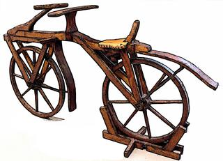 Laufrad-Velo-Fahrrad - Velo, Fahrrad, Rad, Holzdraisine, Holzrad, Holz, fortbewegen, fahren, bewegen, Zweirad, Bicycle, einspurig, Laufrad, Laufmaschine, Muskelkraft, Gleichgewicht, Urform