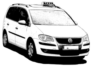 Taxi sw - Taxi, PKW, Auto, Verkehrsmittel, Individualverkehr, Personenkraftwagen, Kraftwagen, Großraumlimousine, Kompaktvan, Van, Kraftfahrzeug, Fahrzeug, Fünftürer, Personenbeförderung, Personenverkehr, motorisiert, rollen, Dachschild