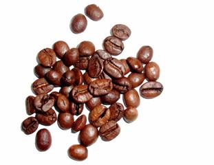 Kaffeebohnen - Kaffeebohnen, Samen, geröstet, Kaffee, Heißgetränk, Genuss, Genussmittel, braun, Steinkerne, Kerne, Coffein