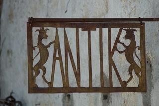 Schild antik - Werbeschild, Werbetafel, antik, Schrift, Schriftgestaltung