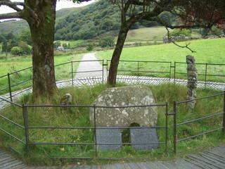 Gelert's Grave - Wales, Beddgelert, Gelert, Grave, Legende, Sage, Grabinschrift, Inschrift, Schieferplatte, Schieferplatten, englisch, Findling, Stein