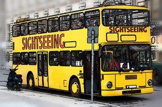 Doppeldeckerbus - Bus, Omnibus, Doppeldeckerbus, Verkehrsmittel, Doppeldeckbus, Doppelstockbus, Stockautobus, Stockbus Kraftwagen, Kraftfahrzeug, Fahrzeug, Personenbeförderung, Personenverkehr, motorisiert, rollen, Sightseeing, Tourismus, Stadtrundfahrt