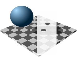 Beweisgrafik zum Schachbrett mit Schatten - optische Täuschung, Schachbrett, Helligkeitswahrnehmung, Optik, Kugel, Beweis, Physik