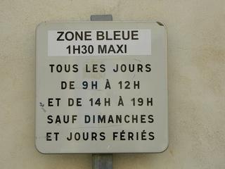 Zone bleue - Frankreich, civilisation, Straßenverkehr, Verkehrsschild, panneau, Parken, parking, zone bleue, Parkscheibe, disque de stationnement, jours