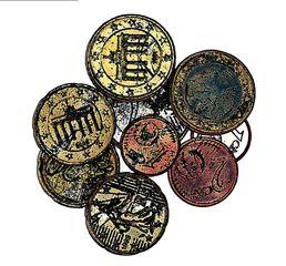Münzen Zeichnung - Münze, Münzen, Geld, Zahlungsmittel, zahlen, rechnen, bezahlen, Moneten, Bares, Knete, Kies, Zaster, Währung, Plural, Einzahl