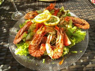 Gambas - Gambas, Krebstier, Garnele, Riesengarnele, Salat, Blattsalat, Tellergericht, mediterran, spanisch, Spanische Küche, Mediterrane Küche
