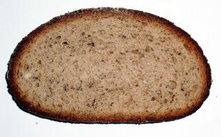 Scheibe Brot - Brot, Brotscheibe, Stulle, Schnitte, Mehlprodukt, Lebensmittel, essen, Ernährung