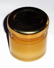 Glas mit Honig - Honig, Glas, Aufstrich, Lebensmittel, süß, süßen, Imkerei, Heilmittel, Süßmittel, gelb