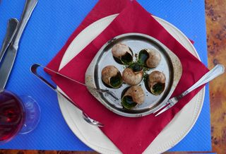 Weinbergschnecken - Weinbergschnecken, Restaurant, escargots bourguignons, Delikatesse, Burgund, Bourgogne, Spezialität, Schneckenhäuser