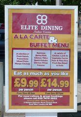 Restaurantschild - englisch - Restaurantschild, indisch, Indische Küche, a la carte, buffet, menu, Selbstbedienung, Angebot, Speisen, Gerichte, Übersetzungsübung