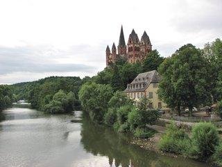 Limburg, Dom, Blick von Lahnbrücke - Limburg, Dom, Lahn, Kirche