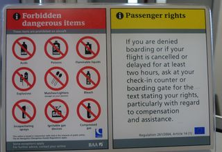 Hinweissschild 02 - sign, airport, boarding, check in, forbidden items, passenger right