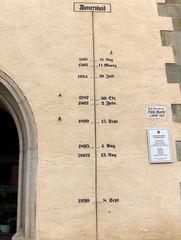 Hochwasserstände in Passau - Hochwasser, Pegel, Überschwemmung, Katastrophe, Notstand, messen, Wasserstand, Fluss, Flüsse, Donau, Inn, Ilz, Anzeige, Markierung, Passau