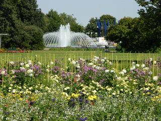 Egapark - ega, Erfurt, Gartenausstellung, Freizeitpark, Blumen, Pflanzen, Springbrunnen, Park, Parkanlage, Blumenbeet, Beet, Springbrunnen, Fontäne, Wasserspiel
