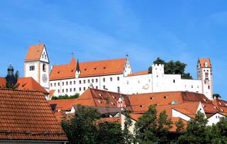 Füssen Hohes Schloss - Schloss, Hohes Schloss, Füssen, profan, Gebäude, Bauwerk, Burg, Altstadt, Mittelalter, spätgotisch, Turm, Uhrturm, Bischof, Herzog