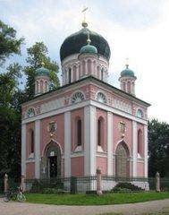 Potsdam, russich-orthodoxe Kirche - Potsdam, russisch, orthodox, Kirche, Holz, Pfingstberg, rosa, Kuppel, Turm