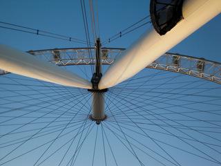 London Eye Perspektive#1 - London, England, Sightseeing, Themse, London Eye, Riesenrad, Perspektive, Blickwinkel, Millennium Wheel, Umdrehung, Rad, Kreis, Speichen, Konstruktion, Ausflug, Erlebnis, Gondeln, Sehenswürdigkeiten, sights