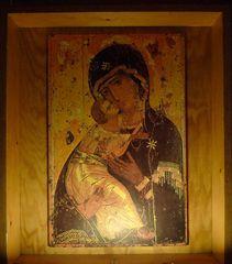 Taizé 03 - Ikone Mutter Gottes und Jesus - Taizé, Altar, Altarraum, Apsis, Ökumene, Konfession, Ikone, Maria, Madonna, Mutter Gottes, Jesus, Wladimirskaja, Muttergottes des Erbarmens