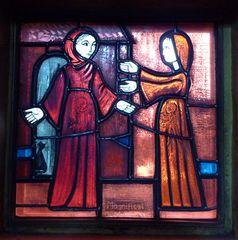 Taizé 08  - Glasfenster Maria bei Elisabeth - Taizé, Altarraum, Ökumene, Konfession, Glaskunst, Fenster, Maria, Elisabeth, Magnifikat, Kirchenjahr
