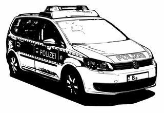 Streifenwagen Polizei sw - Polizei, Streifenwagen, PKW, Auto, Verkehrsmittel, Personenkraftwagen, Kraftwagen, Kraftfahrzeug, Fahrzeug, Fünftürer, motorisiert, rollen, blau, Gefahrenabwehr, Behörde, Ordnung, Sicherheit, helfen, Hilfe, Notruf, Überwachung, überwachen, schützen, Einsatzfahrzeug, Polizeifahrzeug, silber, verkehrsblau