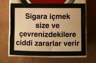 Warnhinweis auf türkischen Zigarettenpackungen #5 - Zigaretten, Zigarettenschachtel, Tabak, rauchen, gefährlich, Warnung, Hinweis, Warnhinweis, warnen, Gesundheit