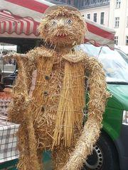 Strohfigur_Mann - Strohfigur, Markt, Handel, Stroh, Getreide, Mann, männlich, Herbst