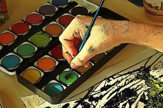 Malen mit dem Pinsel - Cartoon - Pinsel, malen, tuschen, Farbe, Deckfarbe, Wasserfarbe, Farbauftrag, Kunst, Kunsterziehung, Farbkasten, Tuschkasten, Malkasten, Deckfarbkasten, Wasserfarbkasten, wasserlöslich, nicht deckend