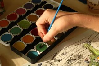 Malen mit dem Pinsel - Pinsel, malen, tuschen, Farbe, Deckfarbe, Wasserfarbe, Farbauftrag, Kunst, Kunsterziehung, Farbkasten, Tuschkasten, Malkasten, Deckfarbkasten, Wasserfarbkasten, wasserlöslich, nicht deckend