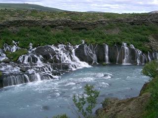 Lavawasserfälle Hraunfossar - Wasserfälle, Lava, Stein, Island, Landschaft, Hilfewasserfall, Basalt, Wasser, fließen