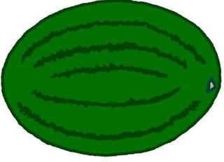 Melone Zeichnung farbig - Melone, Melonen, Anlaut M, Wassermelone, Frucht, Anlaut M