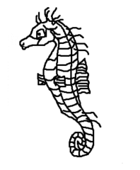 Seepferdchen - Seepferd, Seepferdchen, Fisch, Meer, Aquarium, Zeichnung, Clipart, Anlaut S