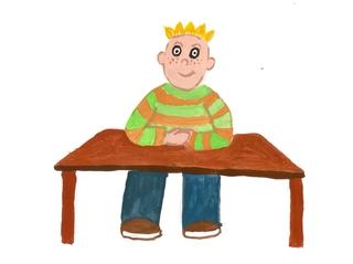 Am Platz sitzen bleiben  - Klassenregel, Bildkarte, Organisation, hinsetzen, Arbeitsplatz, Bildimpuls, Impulskarte