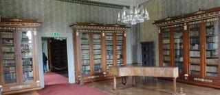 Bibliothek - Bibliothek, Privatbibliothek, Bücher, Büchersammlung, Bücherschrank, Klavier, lesen, Literatur, Musikinstrument