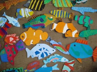 Arbeiten aus Holz - Fische, Holzfische, Holz, Gabun-Sperrholz, Sperrholz, Gestaltung, gestalten, Dekoration, dekorieren, bunt