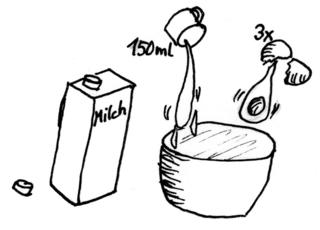 Waffeln backen - Bild 3 / 8 - Waffeln, Teig, backen, Bäckerei, Zutaten, zubereiten, Zubereitung, Rezept, Vorgangsbeschreibung, Vorgang, Beschreibung, Messer, Tasse, Rührschüssel, Eier, Milch