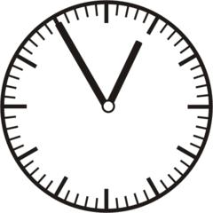 Uhrzeit 12.55 - 0.55 - Uhr, 5 Minuten vor, Uhrzeit, Zeit, Zeitspanne, Zeitpunkt, Zeiger, Mechanik, Zeitskala, Zeitgeber, Analoguhr, Zifferblatt, Ziffernblatt, rechtsdrehend, Uhrzeigersinn, Minute, Stunde, Kreis, Winkel, Grad, Mathematik, Größen, messen, time, clock, ermitteln, Zeitraum, Dauer, Frist, Termin, Zeitabschnitt